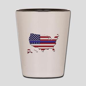 Thin Blue Line US Flag Shot Glass