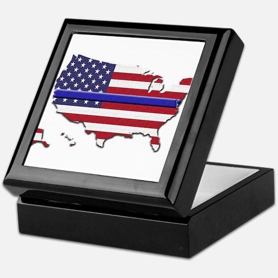 Thin Blue Line US Flag Keepsake Box