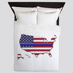 Thin Blue Line US Flag Queen Duvet