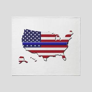 Thin Blue Line US Flag Throw Blanket