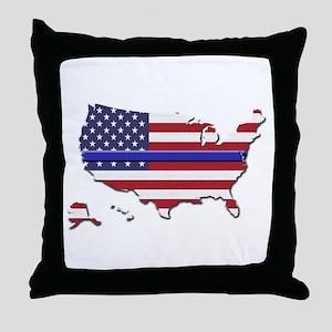 Thin Blue Line US Flag Throw Pillow
