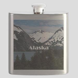 Alaska: Portage Lake and mountains Flask