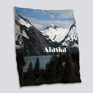 Alaska: Portage Lake and mount Burlap Throw Pillow