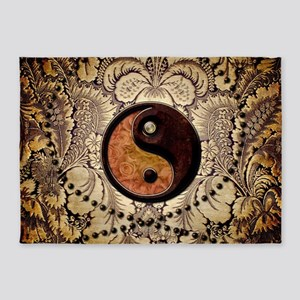 The sign ying and yang 5'x7'Area Rug