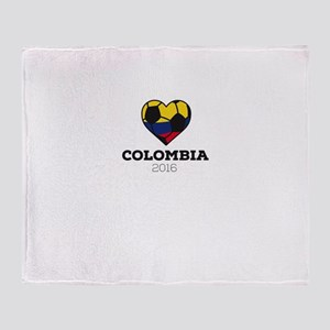 Colombia Soccer Shirt 2016 Throw Blanket