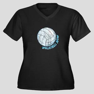 Volleyball Mom Women's Plus Size V-Neck Dark T-Shi
