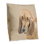 Bloodhound Burlap Throw Pillow