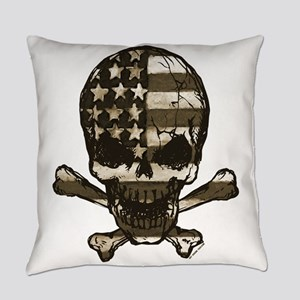Flag-Painted-Skull-Sepia Everyday Pillow