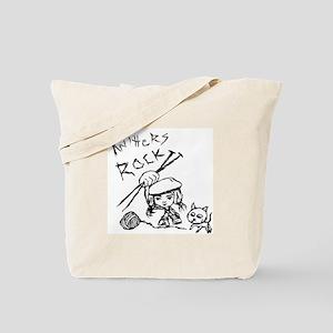 Knitters Rock! Tote Bag