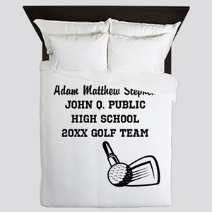 Custom Golf Player Name | School | Yea Queen Duvet