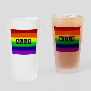 ALLY gay rainbow art Drinking Glass
