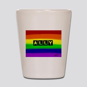 ALLY gay rainbow art Shot Glass
