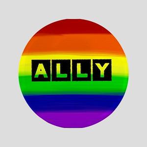 ALLY gay rainbow art Button