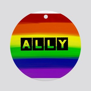 ALLY gay rainbow art Round Ornament