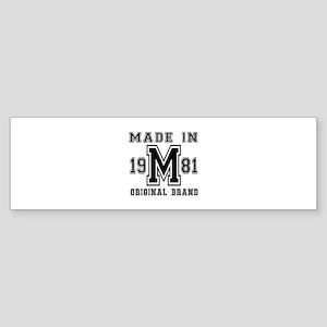 Made In 1981 Original Brand Birth Sticker (Bumper)