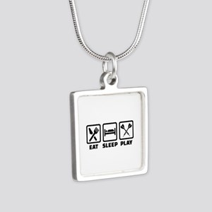 Eat Sleep Play Darts Silver Square Necklace