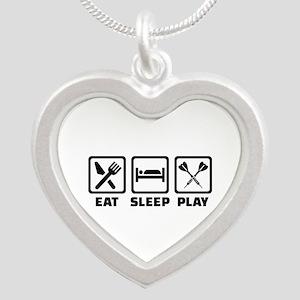 Eat Sleep Play Darts Silver Heart Necklace