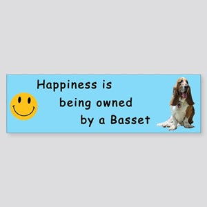 Happiness is .. Bumper Sticker -Tri-color(on blue)