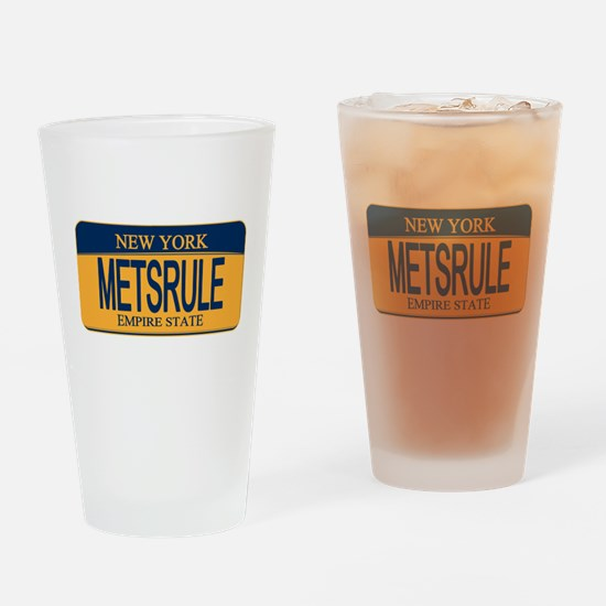MetsRule Ny License Plate Drinking Glass
