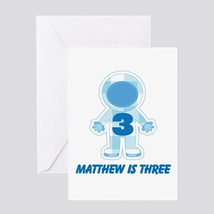 3rd Birthday Personalized Space Greeting Cards