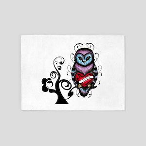 Whimsical Owl with Heart 5'x7'Area Rug