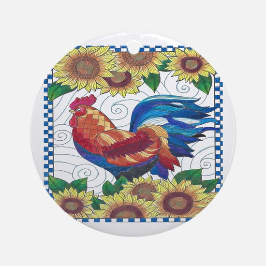 Funny Roosters Round Ornament