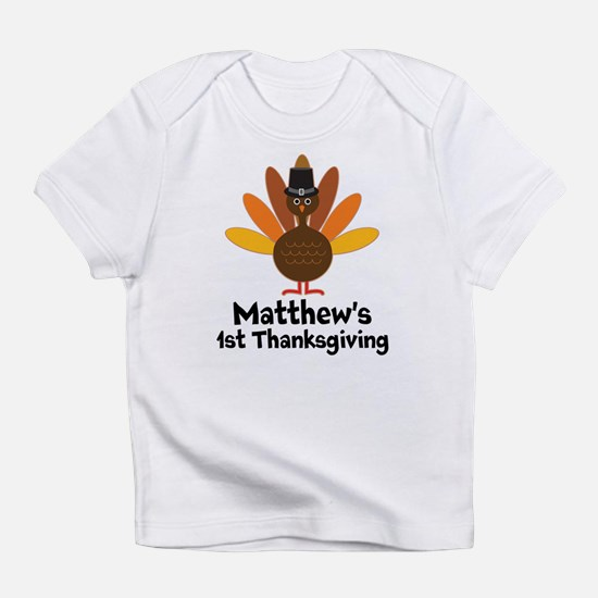 1st Thanksgiving Personalized turkey Infant T-Shir
