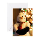Smiling Snowman Christmas Lights Greeting Cards