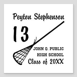"Custom Lacrosse Player N Square Car Magnet 3"" x 3"""