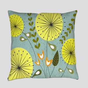 Mid-Century Dandelion Clocks Everyday Pillow