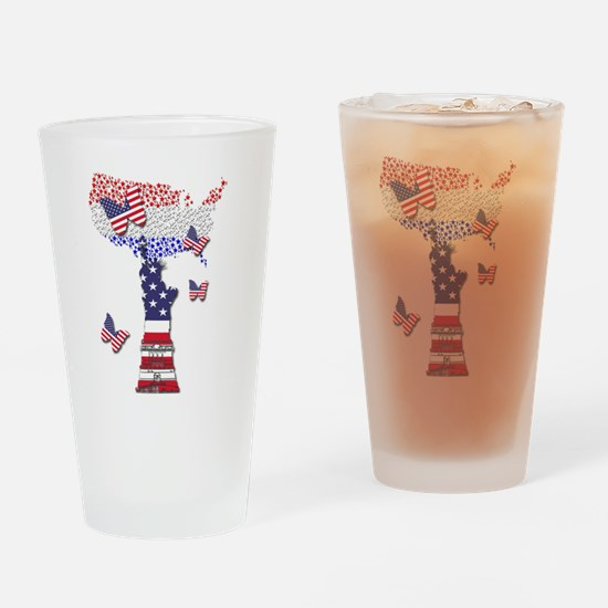 United States Flag and Lady Liberty Drinking Glass