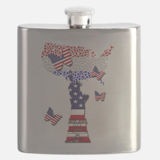 United States Flag and Lady Liberty Flask