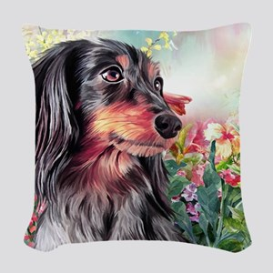 Dachshund Painting Woven Throw Pillow