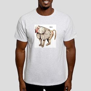 Baboon Monkey Ape (Front) Ash Grey T-Shirt