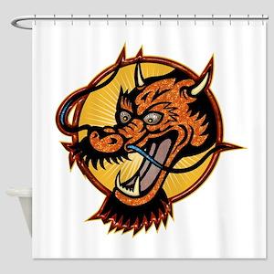 Fierce Red Dragon Shower Curtain