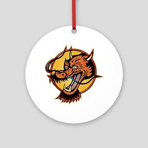 Fierce Red Dragon Round Ornament