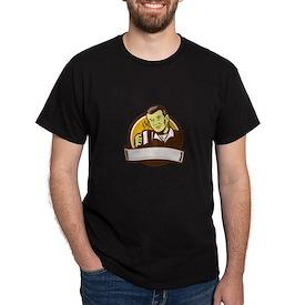 Asian Man Drinking Coffee Circle Woodcut T-Shirt