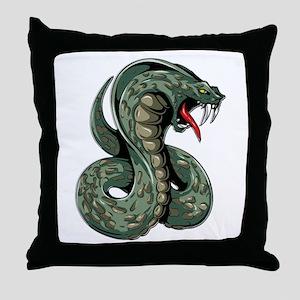 Striking Green Cobra Throw Pillow