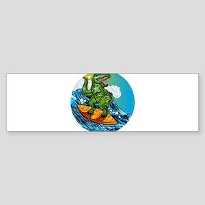 T Rex Surfing Dude Bumper Sticker