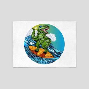 T Rex Surfing Dude 5'x7'Area Rug