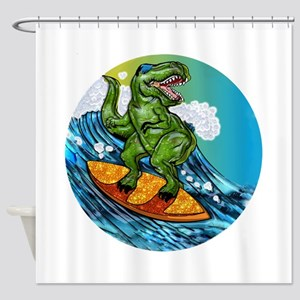 T Rex Surfing Dude Shower Curtain