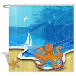 Octopus Beach Shower Curtain