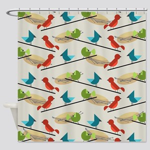 Mid Century Birds Shower Curtain