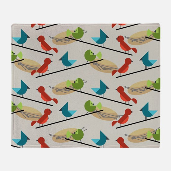 Mid Century Birds Throw Blanket