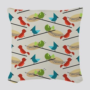 Mid Century Birds Woven Throw Pillow