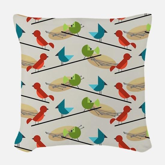Mid Century Birds Woven Throw Pillow