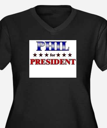 PHIL for president Women's Plus Size V-Neck Dark T