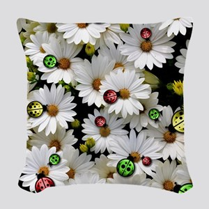 Ladybugs Woven Throw Pillow