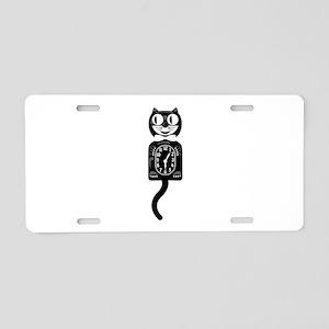 Cat Clock Aluminum License Plate