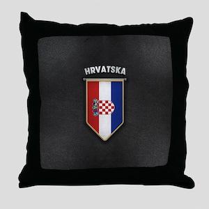 Croatia Pennant with high quality lea Throw Pillow